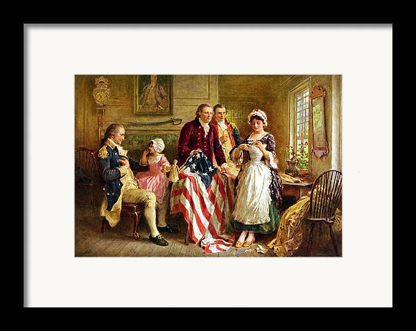 George Washington Framed Print featuring the painting Betsy Ross And General George Washington by War Is Hell Store