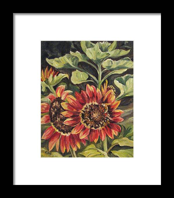Floral Framed Print featuring the painting Betsy's Sunflowers by Cheryl Pass