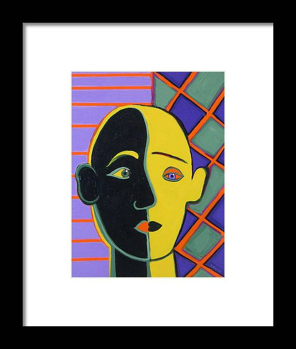 Face Framed Print featuring the painting Better Half by Rollin Kocsis