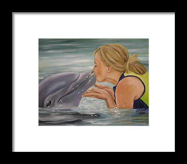 Portrait Framed Print featuring the painting Better Than Kissing A Frog by Joni McPherson