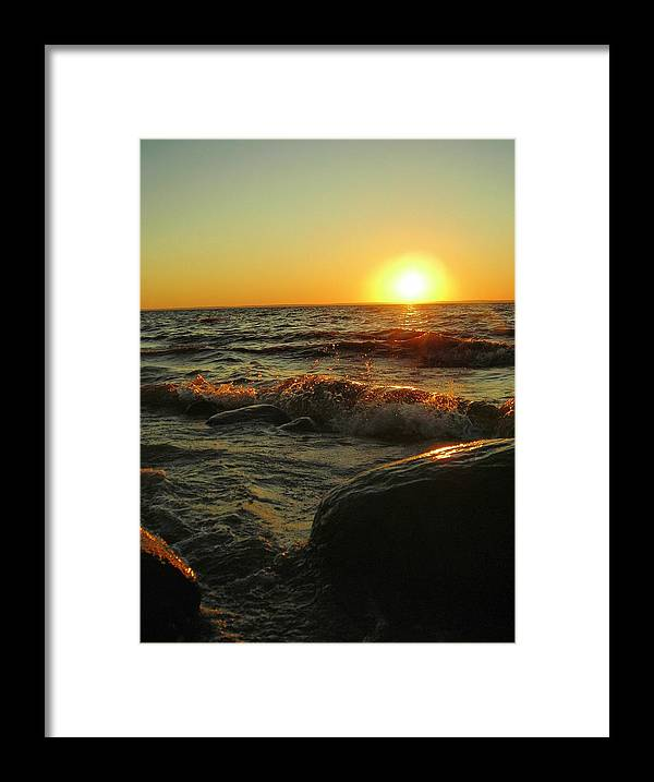 Sunset Framed Print featuring the photograph Between a Rock and a Sunny Place by Peter Mowry