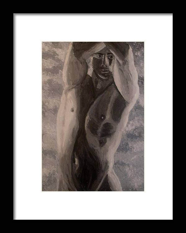 Male Nude Framed Print featuring the painting Between The Arms by Mats Eriksson