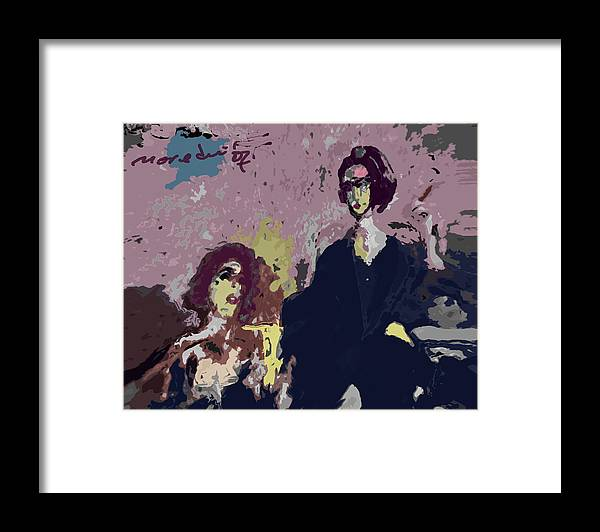 Women Framed Print featuring the painting Between Us by Noredin Morgan