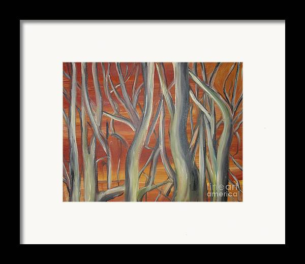 Trees Forest Original Painting Abstract Framed Print featuring the painting Beyond by Leila Atkinson
