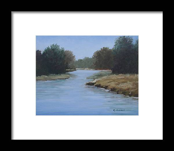 Landscape Framed Print featuring the painting Beyond by Maxine Ouellet