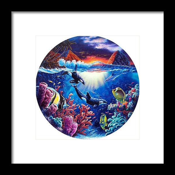 Whale Framed Print featuring the painting Beyond Our World by Daniel Bergren