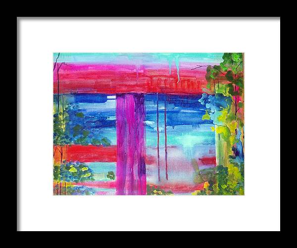 Landscape Framed Print featuring the painting Beyond The Canvas by Maritza Bermudez