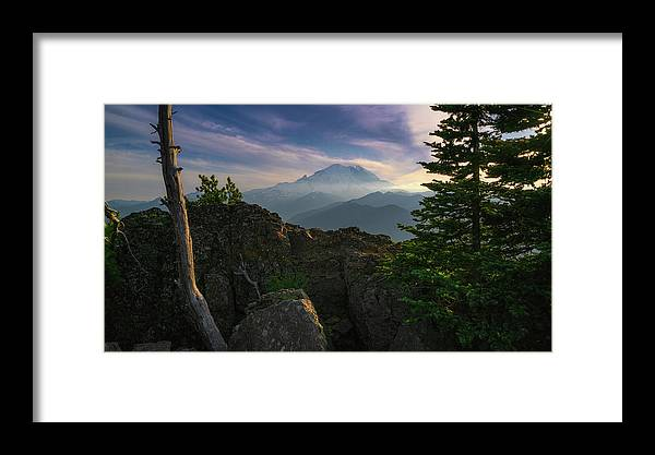 Mtrainier Framed Print featuring the photograph Beyond The Ridge by Ken Stanback