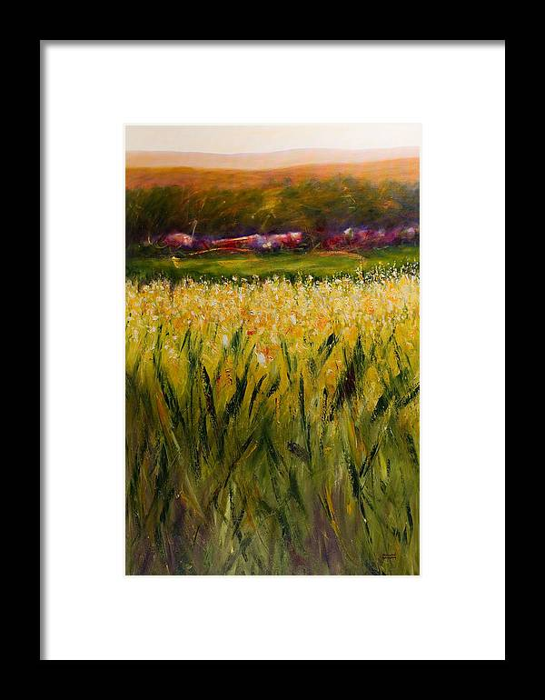 Landscape Framed Print featuring the painting Beyond The Valley by Shannon Grissom