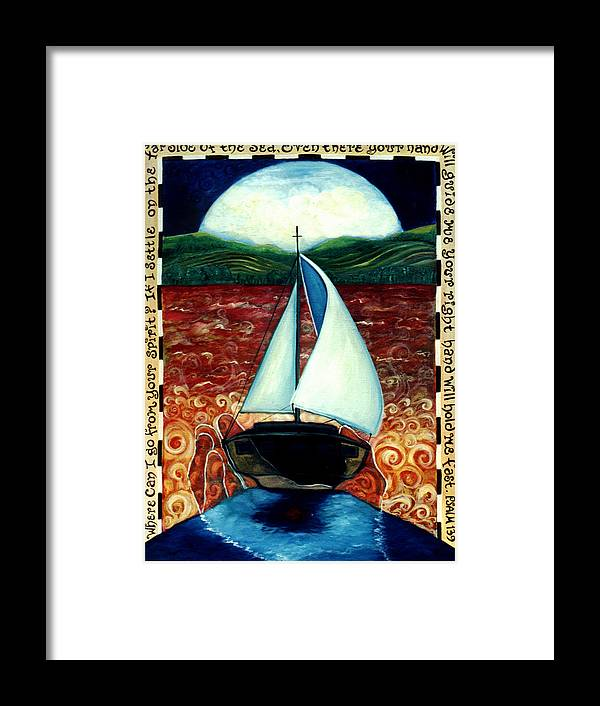 Sailboat Framed Print featuring the painting Beyond These Shores by Teresa Carter