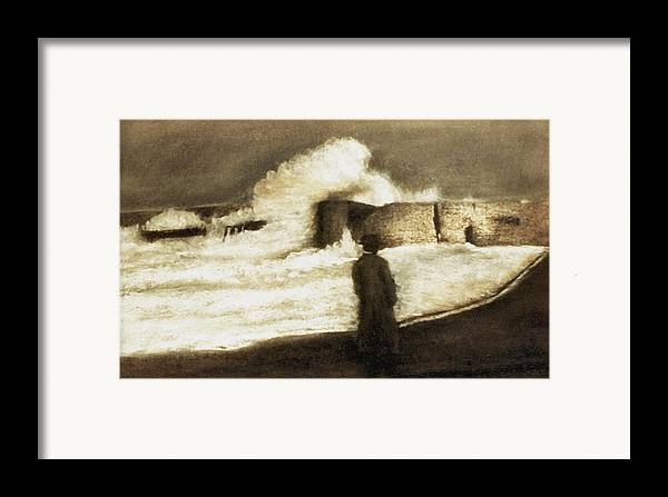 Pastel Framed Print featuring the drawing Biarritz 1909 by Mushtaq Bhat