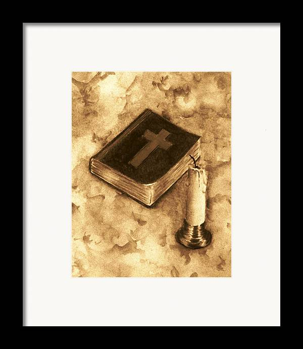 Bible Framed Print featuring the painting Bible And Candle by Michael Vigliotti