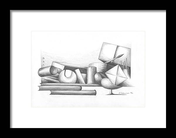 Still Life Framed Print featuring the drawing Bibliotheque by Muriel Dolemieux