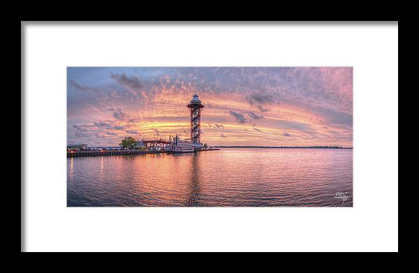Erie Pa Framed Print featuring the photograph Bicentennial Tower with Afterglow by Brian Fisher