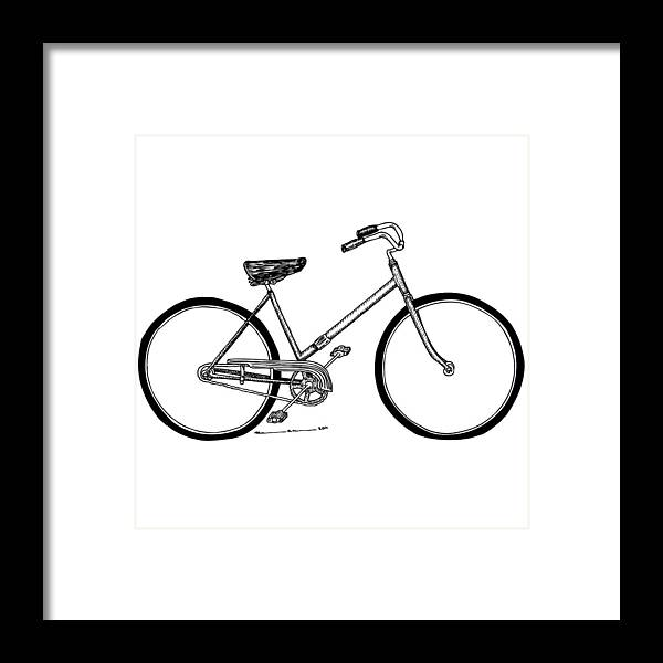 Drawing Framed Print featuring the drawing Bicycle by Karl Addison