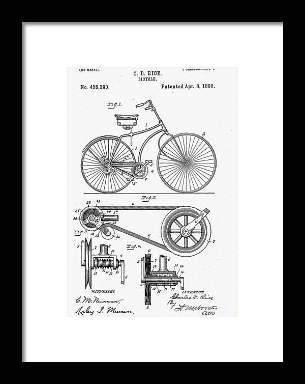 Bicycle Patent 1890 Framed Print featuring the digital art Bicycle Patent 1890 by Bill Cannon