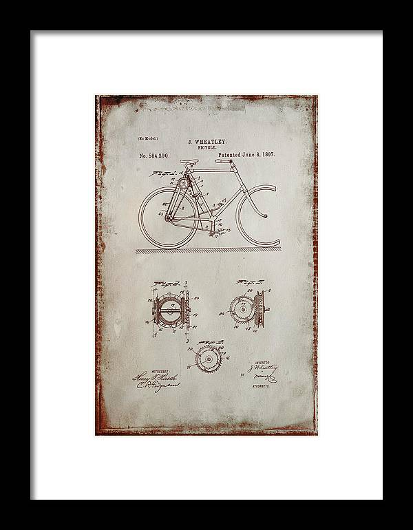Patent Framed Print featuring the mixed media Bicycle Patent Drawing 4a by Brian Reaves