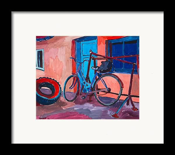Bicycle Framed Print featuring the painting Bicycle by Vitali Komarov