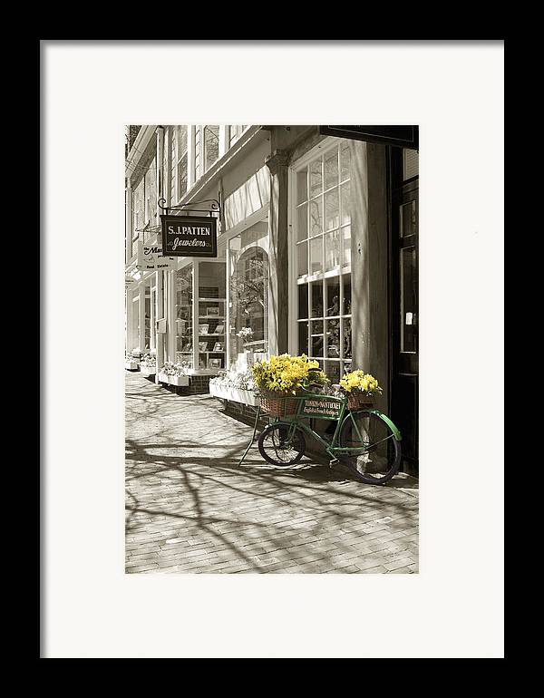 Floral Framed Print featuring the photograph Bicycle With Flowers - Nantucket by Henry Krauzyk