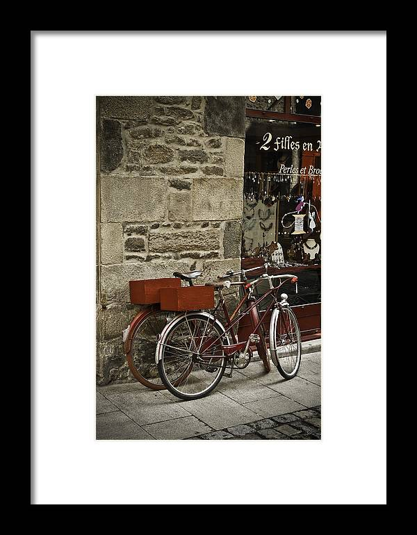Bicycles Framed Print featuring the photograph Bicycles Dinan France by Mark Coran