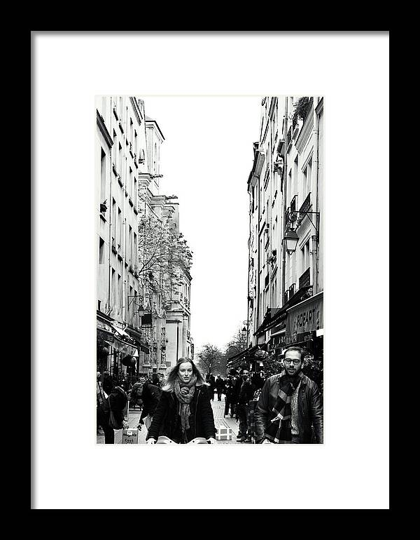 Paris Photography Framed Print featuring the photograph Bicyclettes by Andrea Lobel