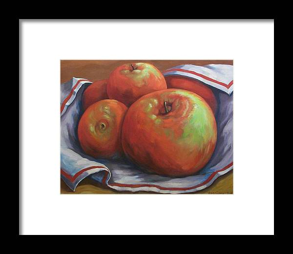 Apples Framed Print featuring the painting Big Apples by Tom Forgione