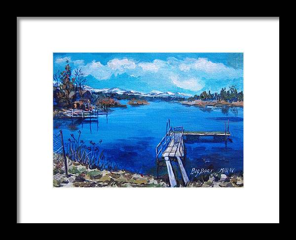 Big Bear Lake Framed Print featuring the painting Big Bear Lake 1 by Min Wang