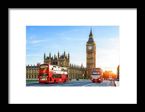 Big Ben Framed Print featuring the mixed media Big Ben In The Evening by Garland Johnson