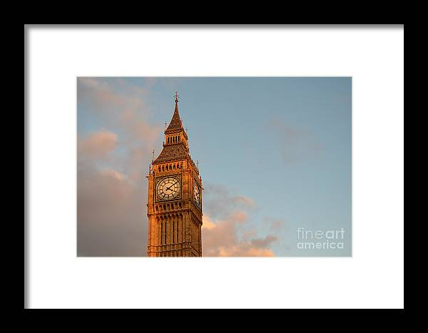 Big Ben Framed Print featuring the photograph Big Ben Tower With Blue Sky And Some Clouds by IPics Photography