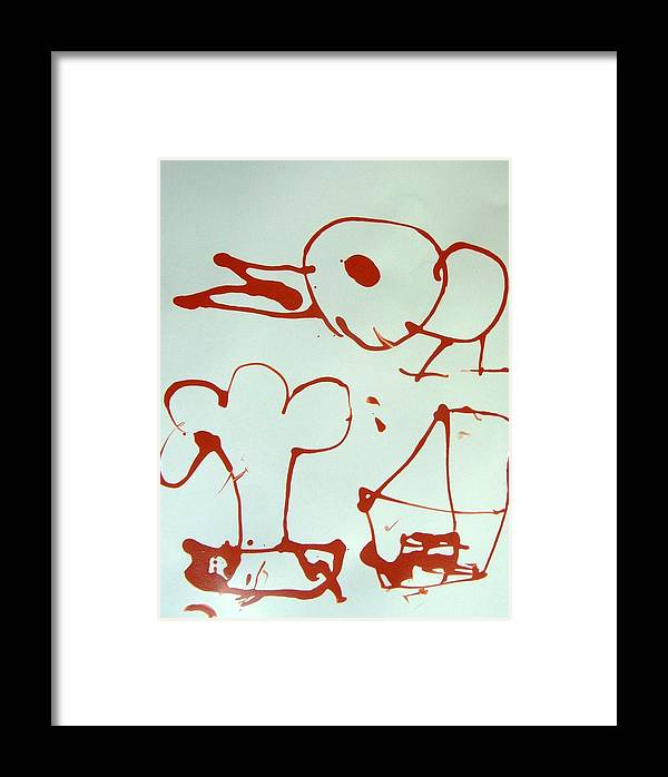 Abstract Framed Print featuring the painting Big Bird by Nanak Chadha
