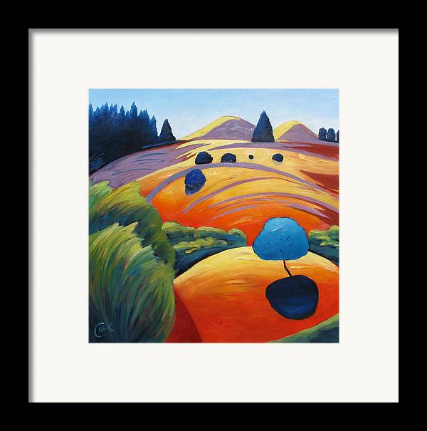 Intense Color Framed Print featuring the painting Big Blue Tree by Gary Coleman