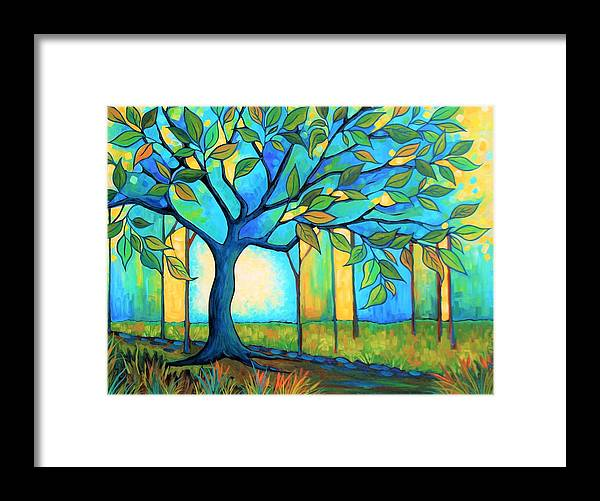 Tree Framed Print featuring the painting Big Blue Tree by Peggy Davis