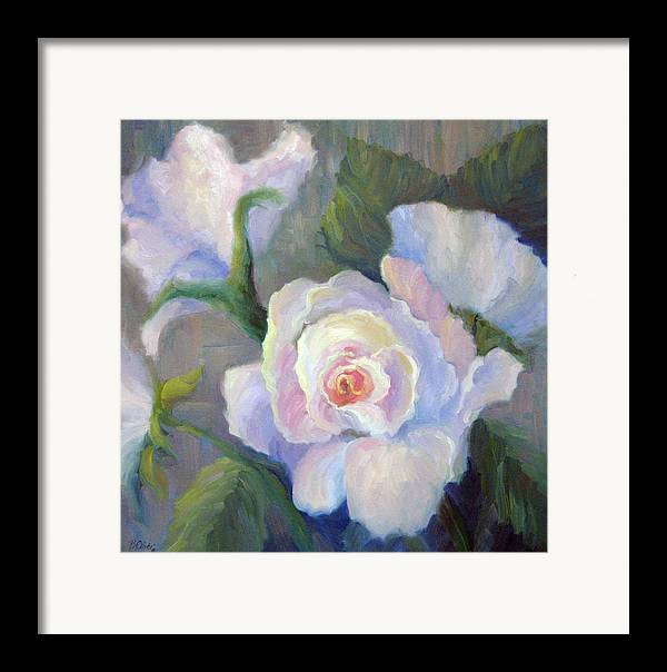 Flower Framed Print featuring the painting Big Blushing Rose by Bunny Oliver