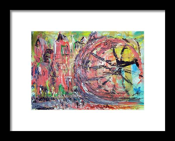 Abstract Cityscape Framed Print featuring the painting Big City Wheel Vs Little People by Lynda McDonald