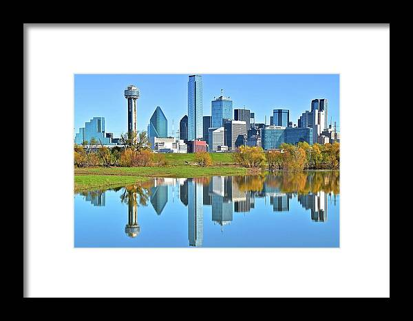 Dallas Framed Print featuring the photograph Big D Reflection by Frozen in Time Fine Art Photography