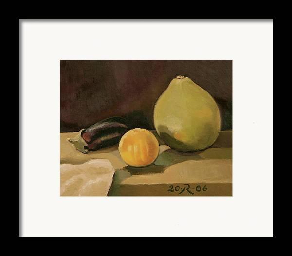 Still-life Cucurbit Aubergine Grapefruit Framed Print featuring the painting Big Grapefruit by Raimonda Jatkeviciute-Kasparaviciene