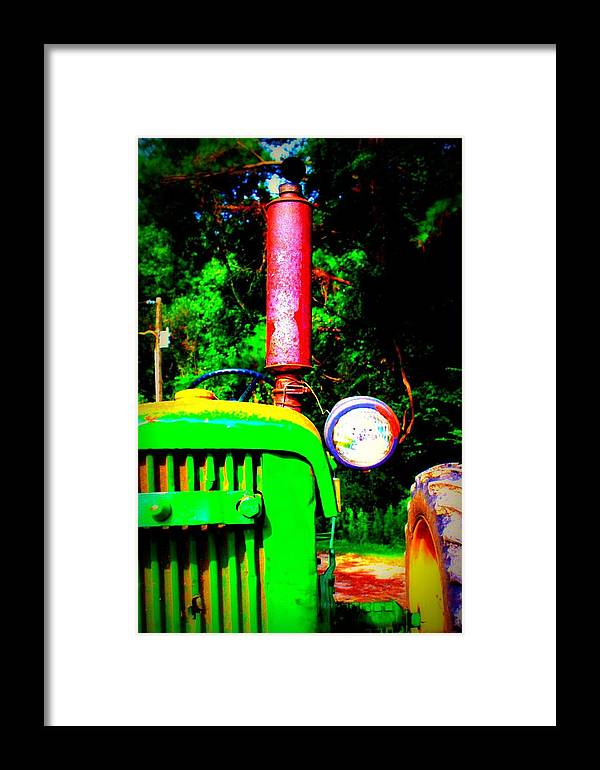 Old Framed Print featuring the photograph Big Green Tractor 2 by Jill Tennison
