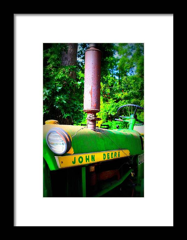 John Deere Framed Print featuring the photograph Big Green Tractor by Jill Tennison