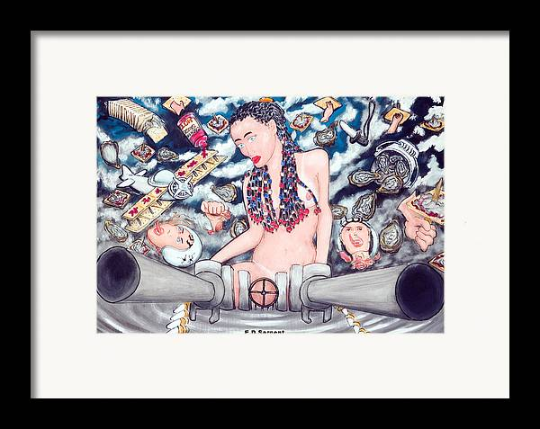 Cannons Framed Print featuring the painting Big Gunz A Blazn by Eddie Sargent