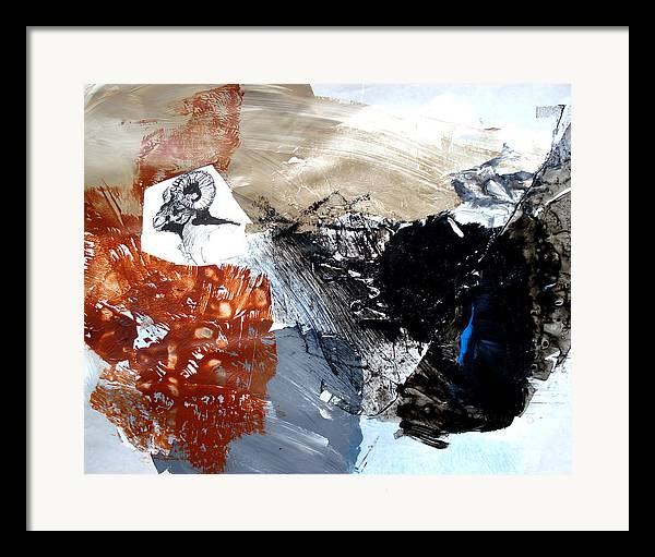 Wildlife Abstract Framed Print featuring the painting Big Horn At Home by Paul Miller