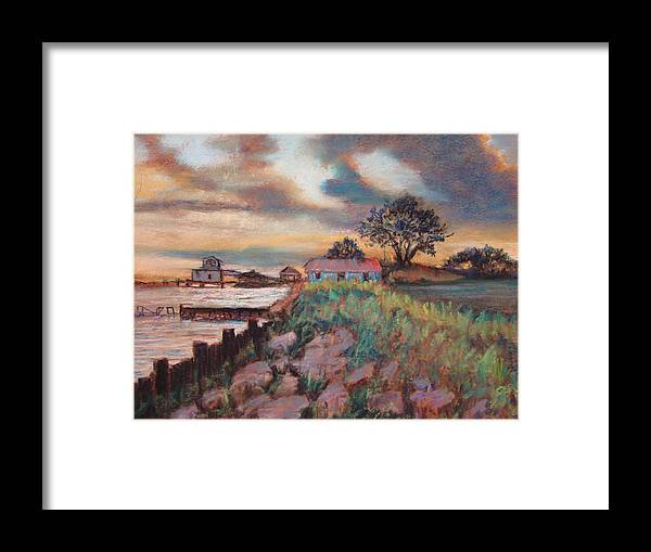 Pastels Framed Print featuring the painting Big Lake Sunset by Anne Dentler