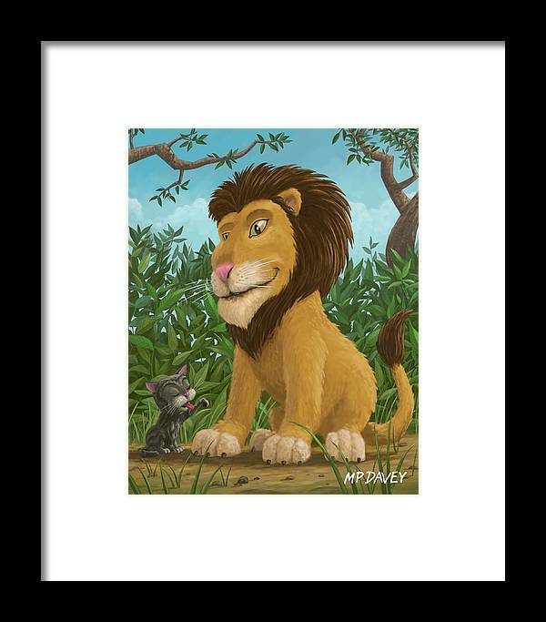 Lion Framed Print featuring the painting Big Lion Small Cat by Martin Davey