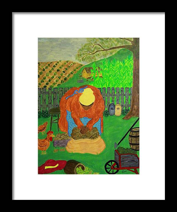Lady With Orange Dress Framed Print featuring the painting Big Mama Sorting Potatoes by Suzon Lemar