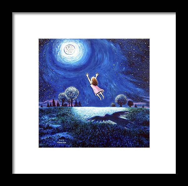 Moon Framed Print featuring the painting 'big Moon Hug' by Jerry Kirk