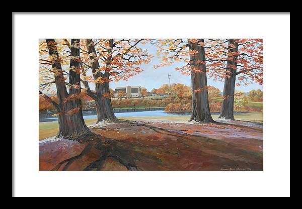 Trees Farm Country Life Windmill Barn Fall Lake Oak Landscape Framed Print featuring the painting Big Oaks In Fall by Werner Pipkorn