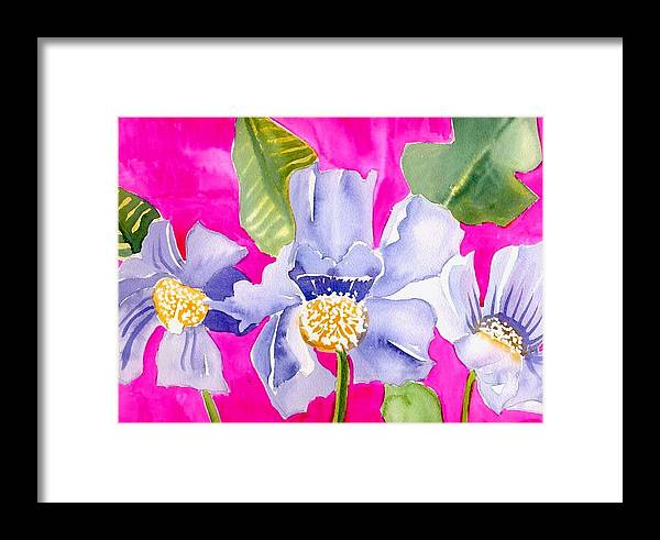 Big Pink Flowers Framed Print featuring the painting Big Pink Flowers by Janet Doggett