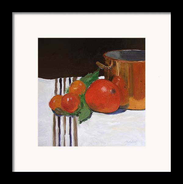 Still Life Framed Print featuring the painting Big Red Tomato by Barbara Andolsek
