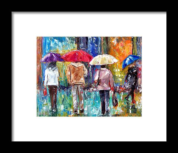 Rain Framed Print featuring the painting Big Red Umbrella by Debra Hurd