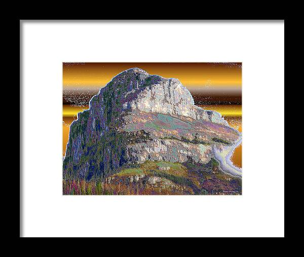 Blue Framed Print featuring the painting Big Rock by Wayne Bonney