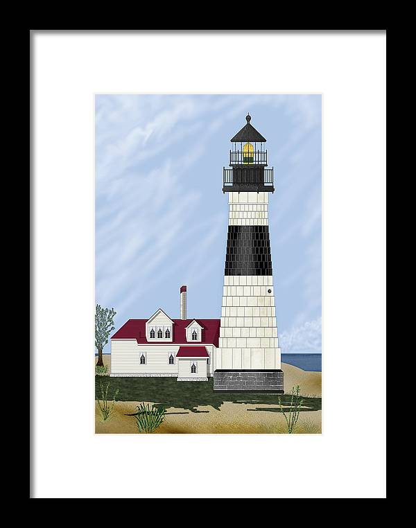 Big Sable Michigan Lighthouse Framed Print featuring the painting Big Sable Michigan by Anne Norskog